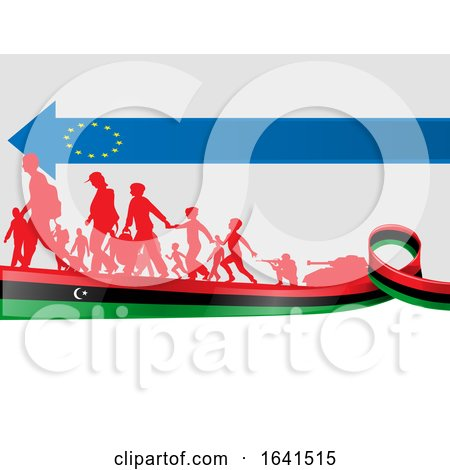 Silhouetted Immigrants on a Libian Flag Under a European Flag Arrow by Domenico Condello