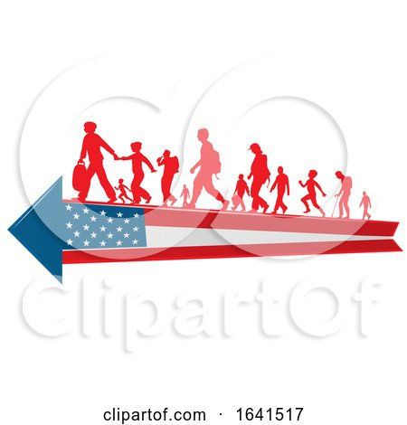 Silhouetted Immigrants on an American Flag Arrow by Domenico Condello