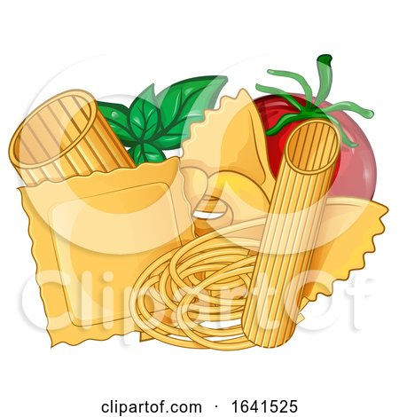 Cartoon Basil Tomato and Pasta by Domenico Condello