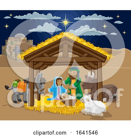 Christmas Nativity Scene Cartoon by AtStockIllustration