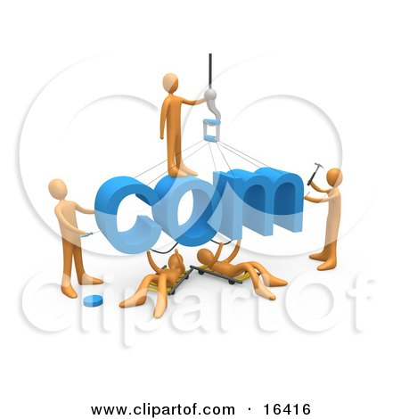 Team Of Orange People Constructing The Word Com, Symbolizing A Website Under Construction Clipart Illustration Graphic by 3poD