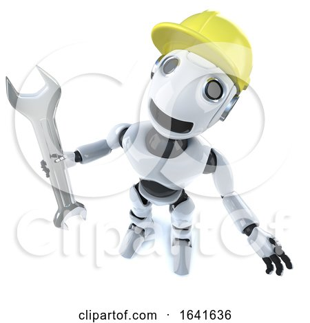 3d Funny Cartoon Robot Character Holding a Spanner and Wearing a Hard Hat by Steve Young
