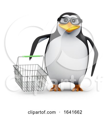 3d Penguin With a Shopping Basket by Steve Young