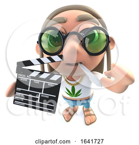 3d Funny Cartoon Hippy Stoner Character Holding a Movie Makers Chalk Slate Clapperboad by Steve Young
