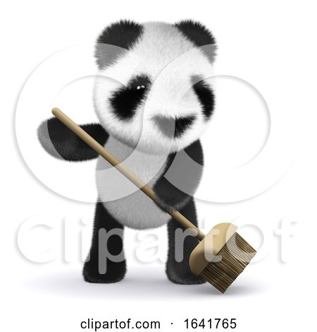 3d Baby Panda Sweeps up by Steve Young