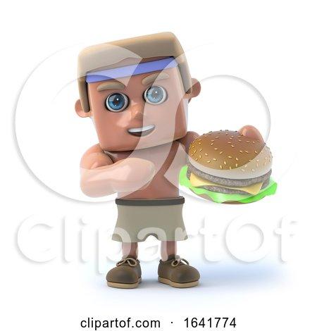 3d Bodybuilder Eats a Burger by Steve Young