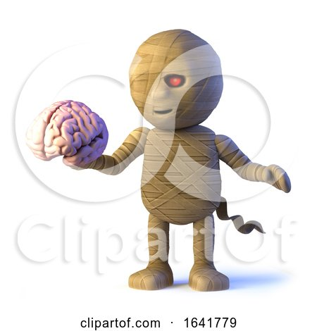 3d Scary Cartoon Halloween Mummy Monster Holding a Human Brain by Steve Young