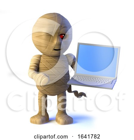 3d Egyptian Mummy Monster Has a New Laptop Pc by Steve Young