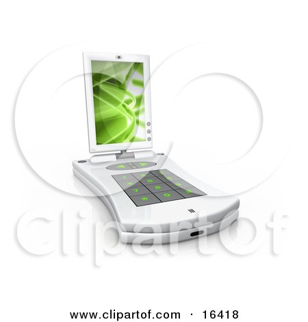 White Pda Computer With A Small Keyboard And A Green Screen Saver  Posters, Art Prints