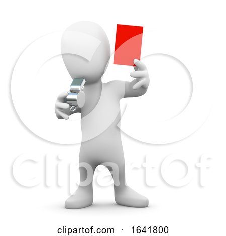 3d Little Man Holds up a Red Card by Steve Young