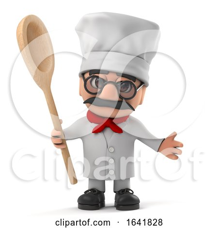 3d Funny Cartoon Old Italian Chef Character Has a Wooden Spoon by Steve Young