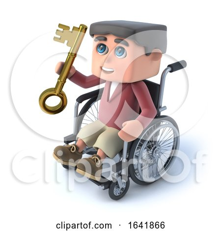 3d Boy in Wheelchair Has a Golden Key by Steve Young