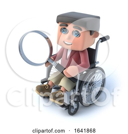 3d Boy in Wheelchair Looking Through Magnifying Glass by Steve Young