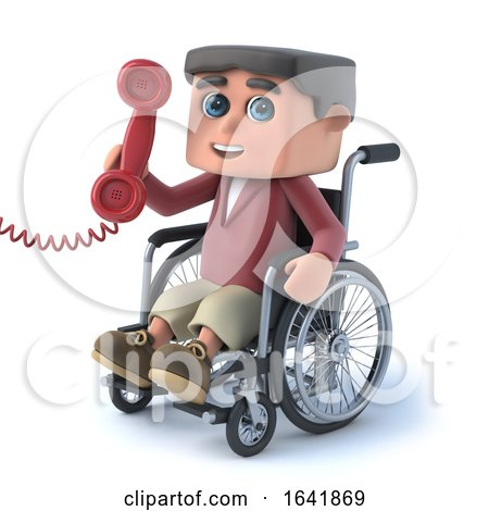3d Boy in Wheelchair Answers the Phone by Steve Young