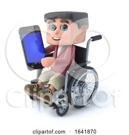 3d Boy in a Wheelchair Using a Smartphone by Steve Young