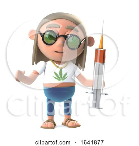 3d Funny Cartoon Hippy Stoner Character Holding a Syringe of Drugs by Steve Young