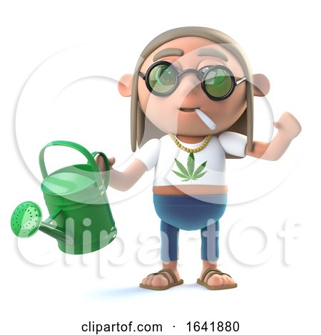 3d Stoner Hippie Waters His Plants by Steve Young