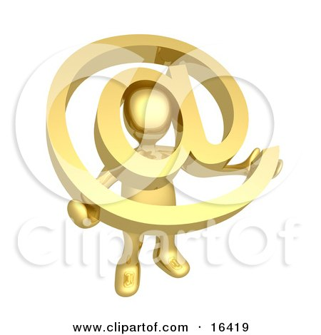 Gold Person Holding A Golden At Symbol With His Head Peeking Through The Center Clipart Illustration Graphic by 3poD