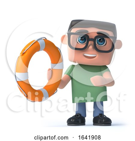 3d Boy in Glasses Holds a Life Ring by Steve Young