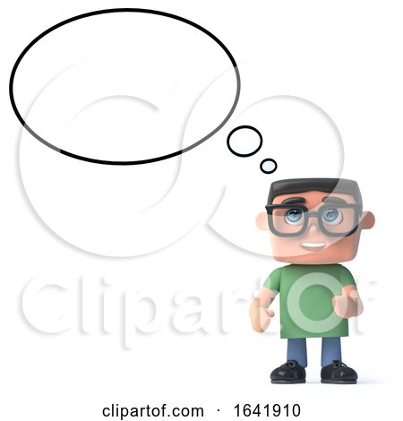 3d Boy in Glasses with a Thought Balloon by Steve Young