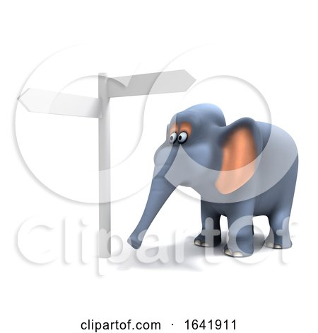 3d Elephant at the Signpost by Steve Young