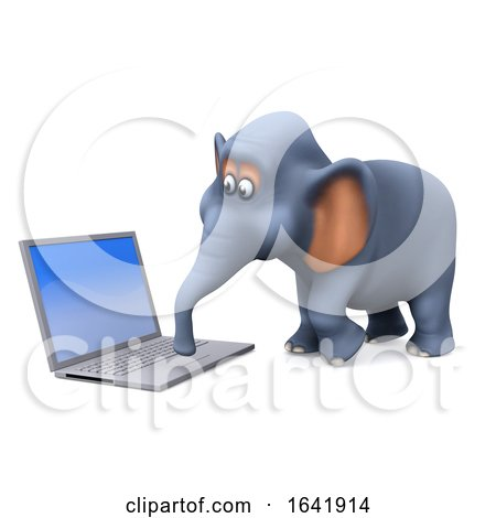 3d Elephant on a Computer by Steve Young