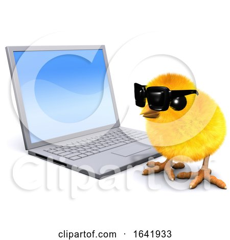 3d Chick with Laptop Pc Posters, Art Prints
