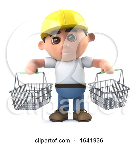 3d Construction Worker Goes Shopping by Steve Young