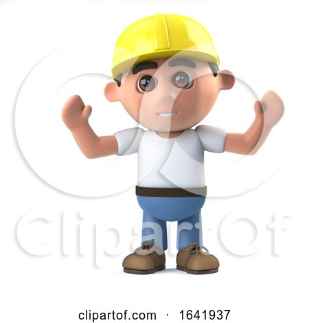 3d Construction Worker Cheers Jubilantly by Steve Young