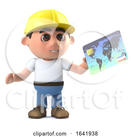 3d Construction Worker Pays with a Debit Card by Steve Young