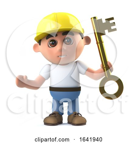 3d Construction Worker Hands You the Key by Steve Young