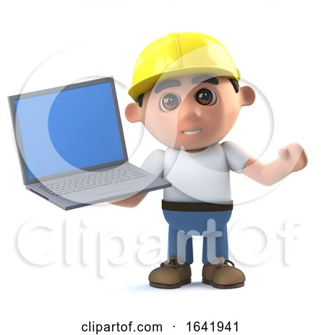 3d Construction Worker Holding a Laptop Pc Device by Steve Young