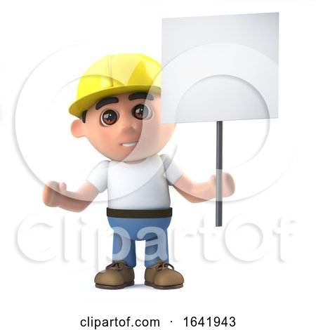 3d Construction Worker with Placard by Steve Young