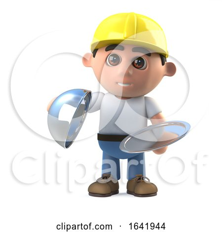 3d Construction Worker Offers a Silver Service by Steve Young
