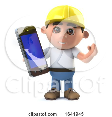 3d Construction Worker Has a Smartphone Tablet Device by Steve Young