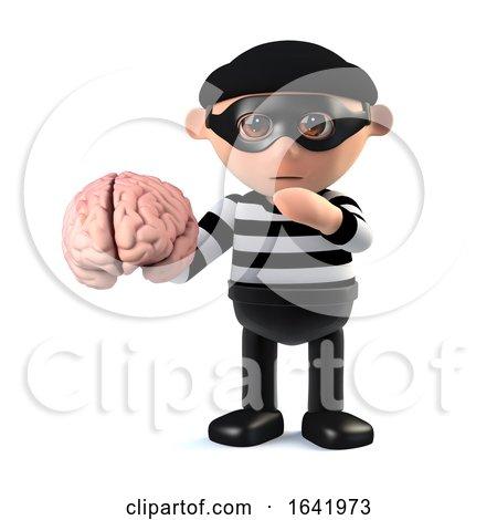 3d Burglar Holdinig a Human Brain by Steve Young
