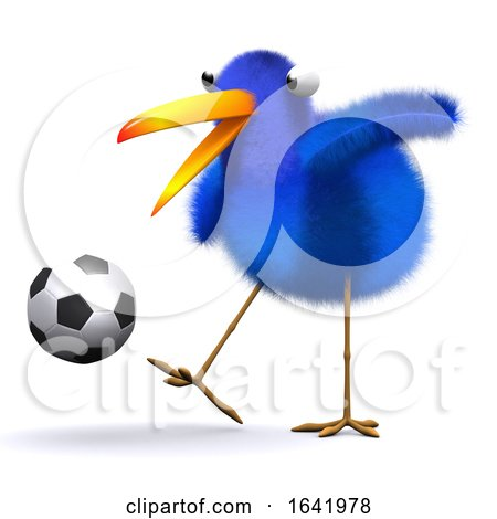 3d Blue Bird Football Posters, Art Prints