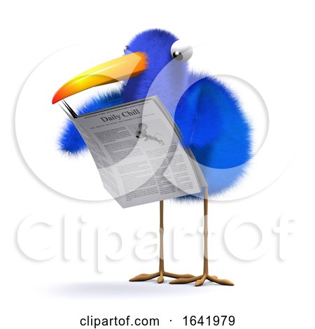 3d Blue Bird News Posters, Art Prints