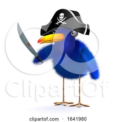 3d Blue Bird Pirate Posters, Art Prints