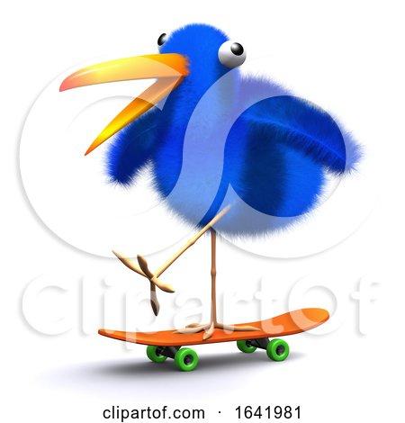 3d Blue Bird Skateboard Posters, Art Prints