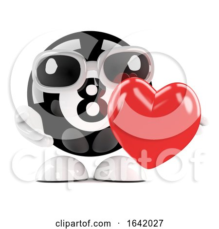 3d 8 Ball Hugs a Red Heart by Steve Young