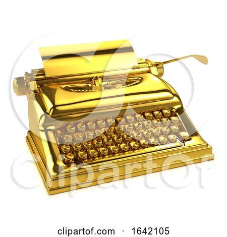 3d Gold Typewriter Posters, Art Prints