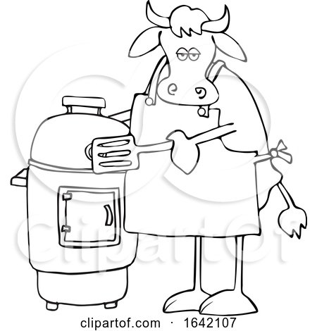 Cartoon Black and White Cow by a Smoker by djart