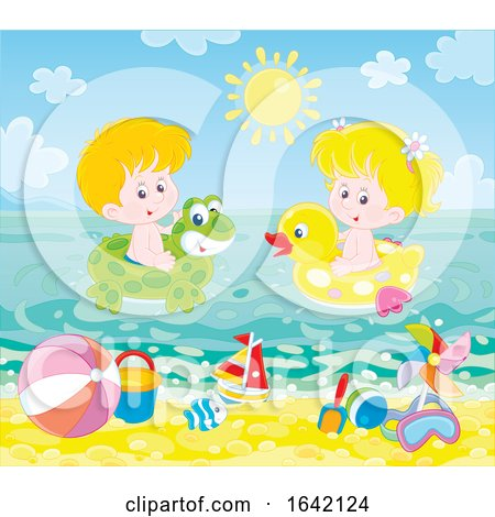 Children Swimming with Inflatables at the Beach by Alex Bannykh