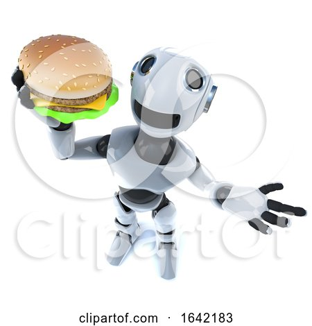 3d Mechanical Robot Character Holding a Cheese Burger Fast Food Snack by Steve Young