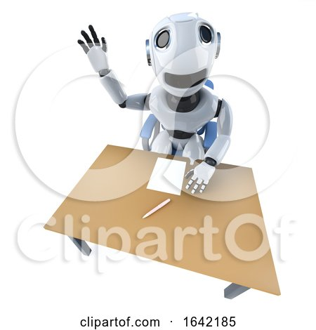 3d Funny Robot Character Waving from Begind an Office Desk by Steve Young