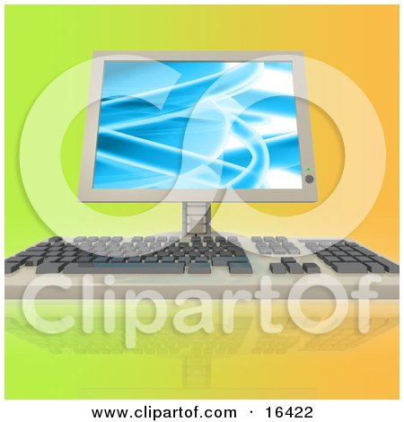Computer Keyboard And Flatscreen Lcd Monitor Screen On A Colorful Background  Posters, Art Prints
