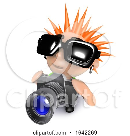 3d Punk Rocker Kid Character Taking Pictures with a Camera by Steve Young