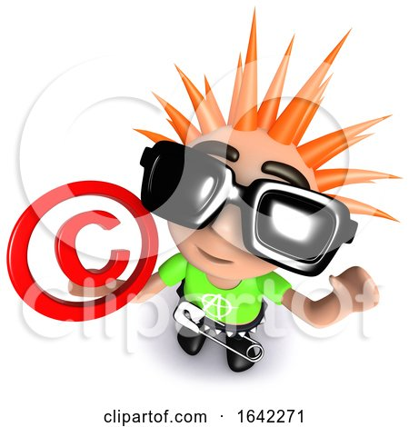3d Punk Rocker Kid Character Holding a Copyright Symbol by Steve Young