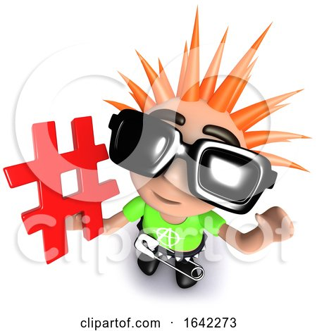 3d Punk Rocker Kid Character Holding a Hashtag Symbol by Steve Young